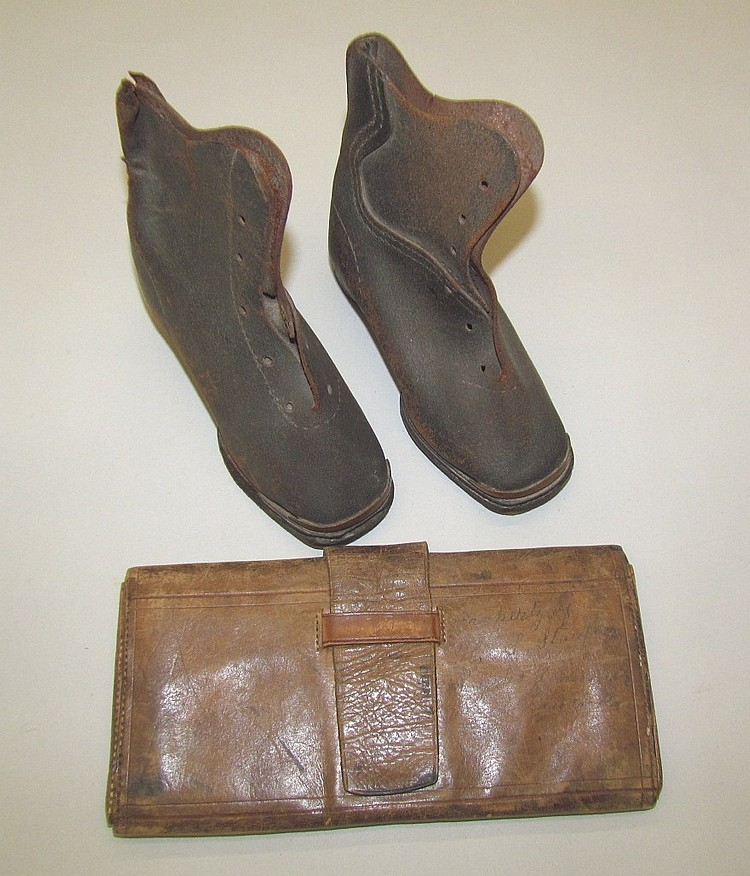 Leather child's shoes & leather wallet