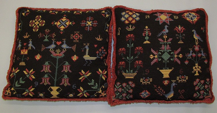 Pair of needlework cushions