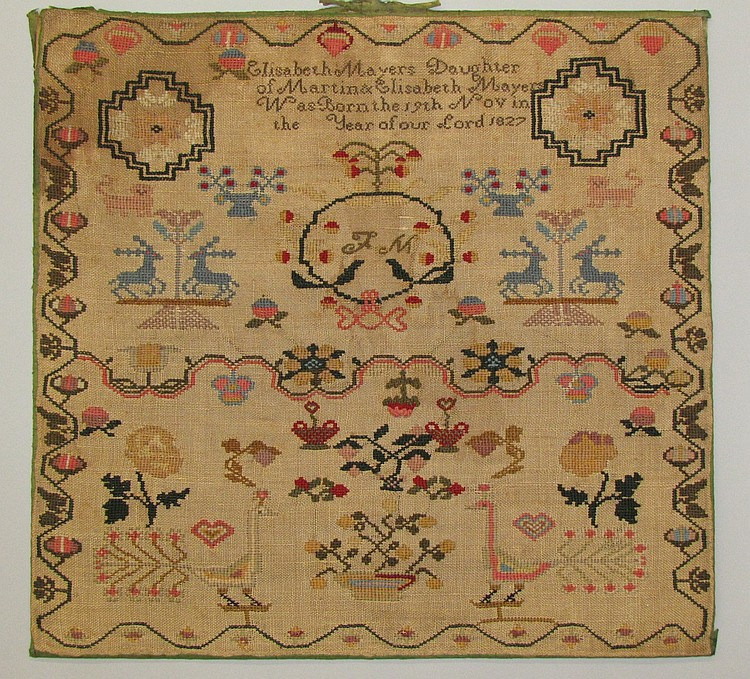 Mennonite Sampler dated c.1840. Elizabeth Mayer (b.1827)