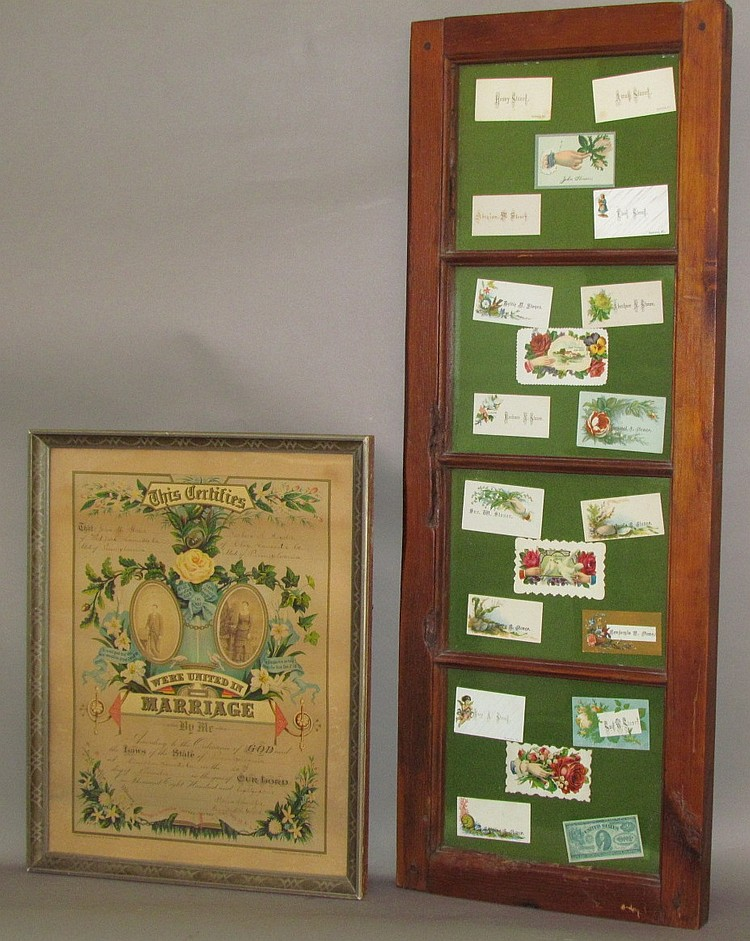 24 Victorian calling cards & marriage certificate