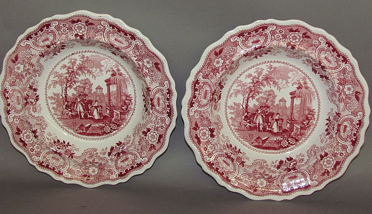 Pair of Staffordshire plates
