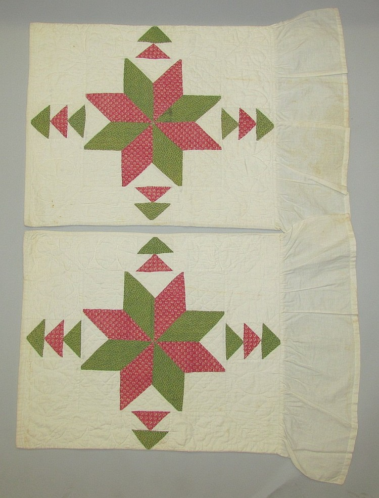 Pair of pieced & quilted pillow slips