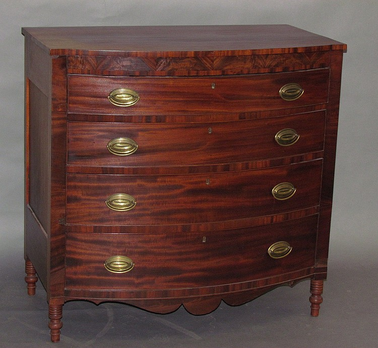 Sheraton bow-front chest of drawers