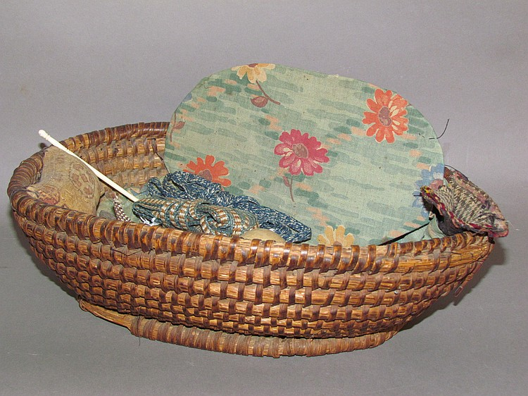 Oval rye straw sewing basket & contents