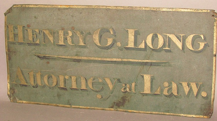 Tin sign for Henry G. Long (1804-1884), Attorney at Law