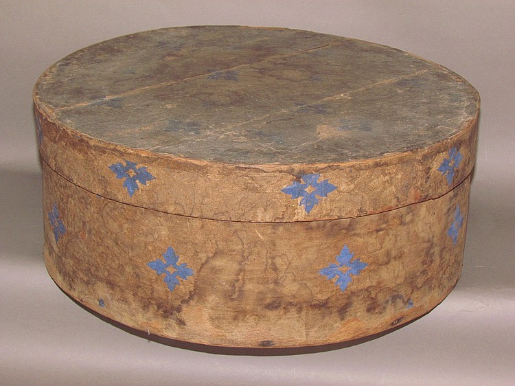 Round, wooden band box