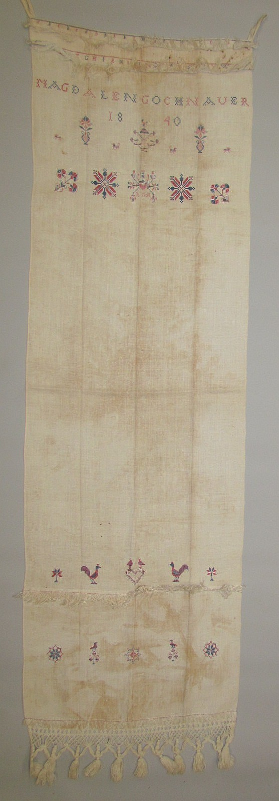 "Decorated towel ""MAGDALEN GOCHNAUER 1840"""