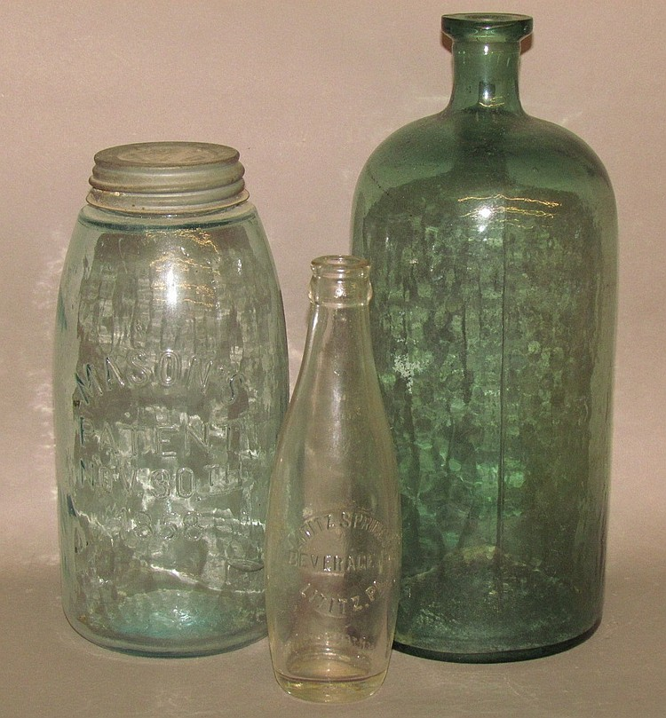 3 glass bottles