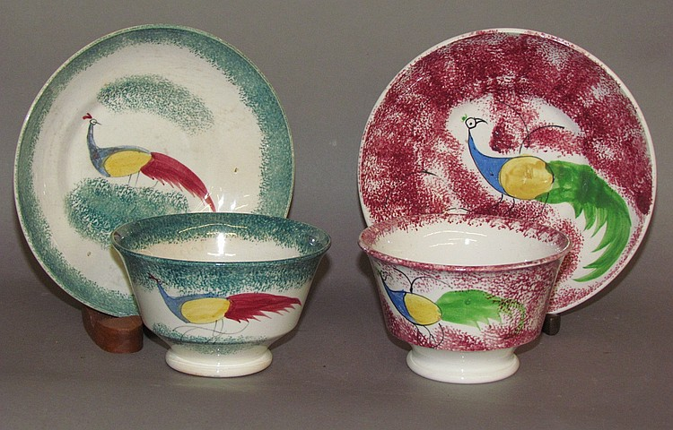 2 peafowl pattern Spatterware cups & saucers
