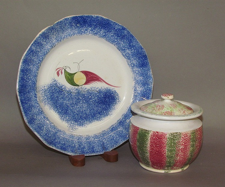 Spatterware plate & sugar bowl