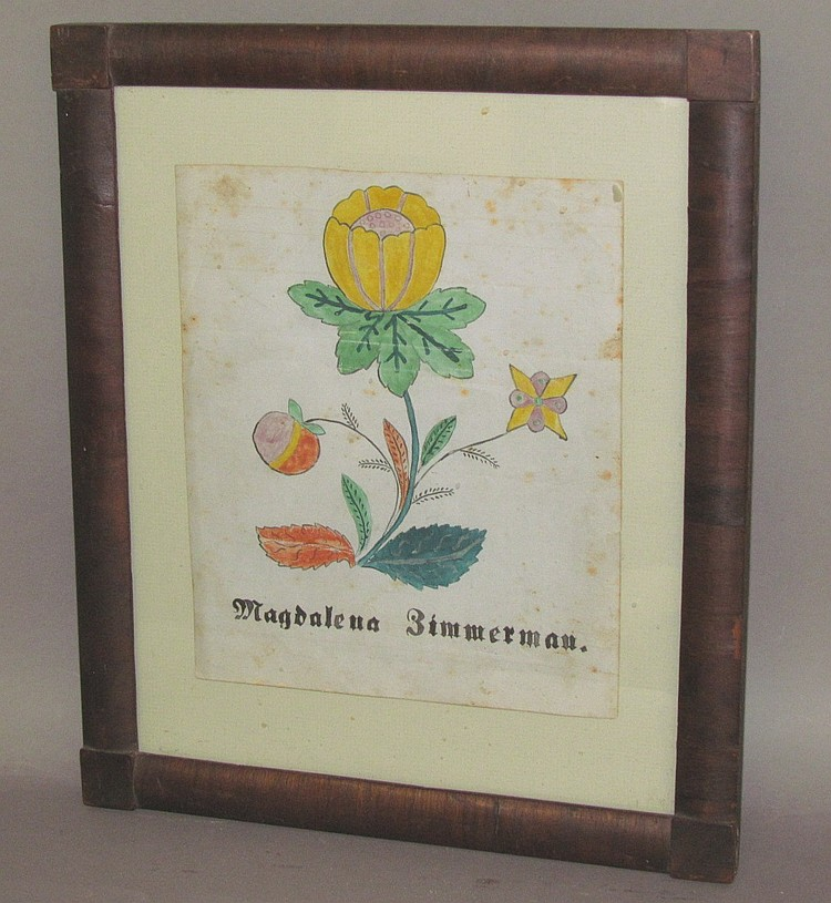 Fraktur floral watercolor drawing.