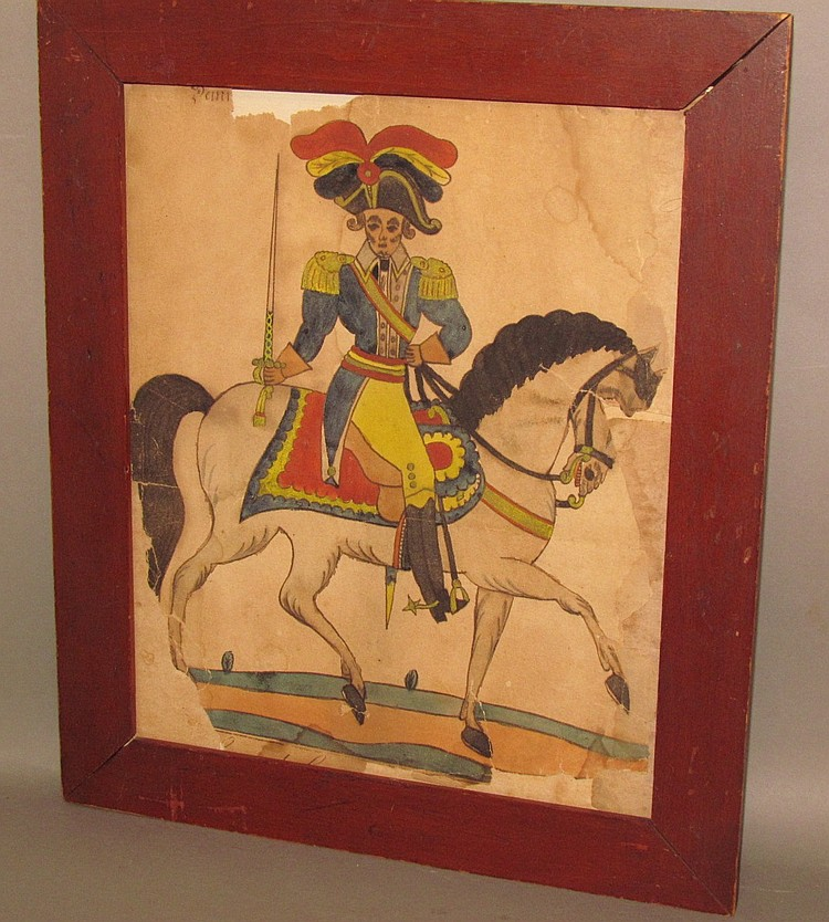 Fraktur drawing of Col. George Washington on horseback