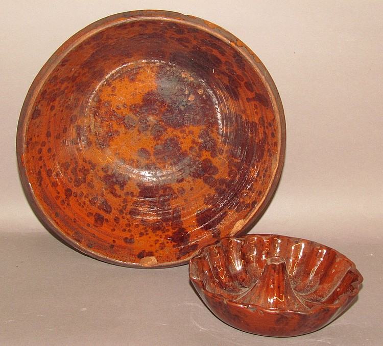 2 pieces of redware