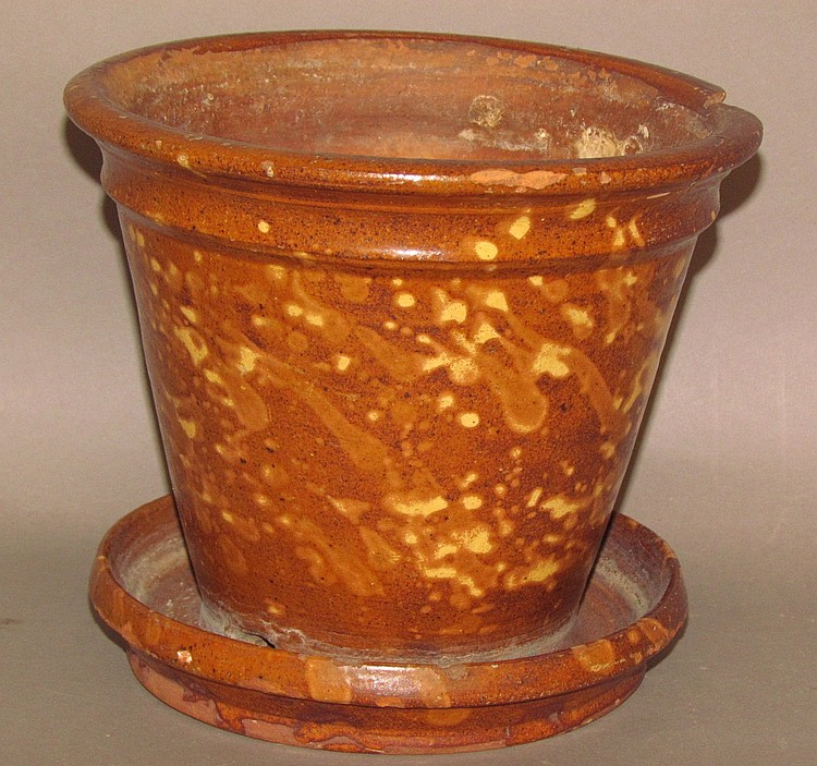 Redware flower pot w/saucer