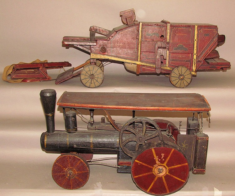 Wooden model of a steam engine & threshing machine