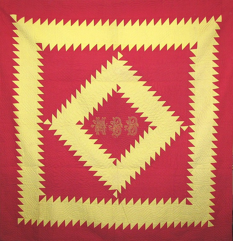 Exceptional sawtooth diamond quilt w/ 2 matching pillow slips