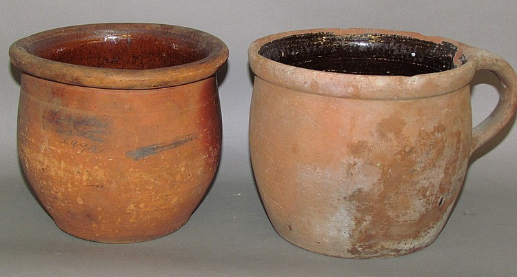 2 redware crocks