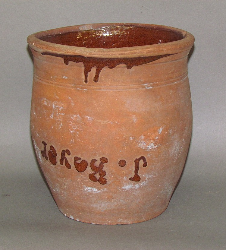 Redware crock with one handle