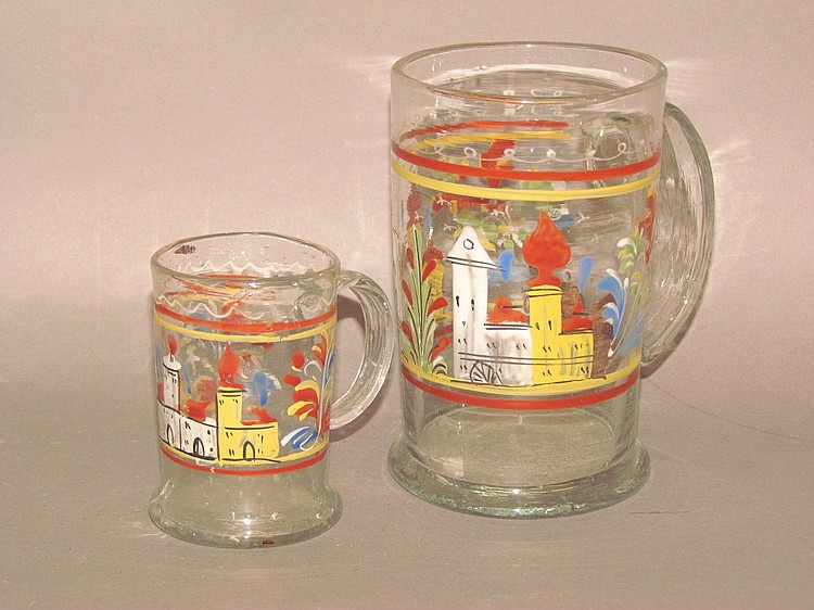 2 Stiegel-type enameled mugs