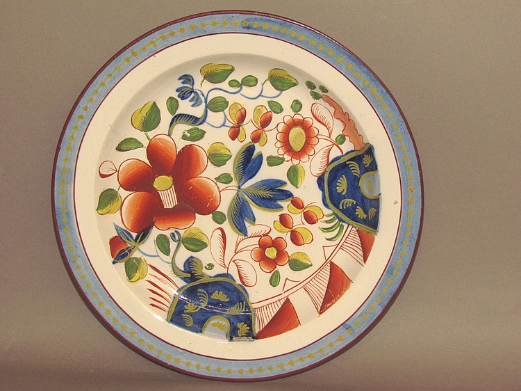 Gaudy Dutch plate. Single rose pattern