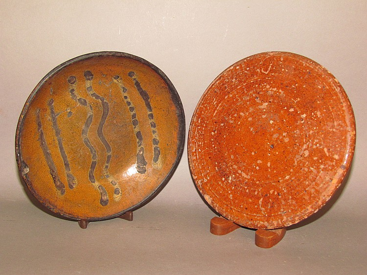 Slipware pie plate & Redware hot pad