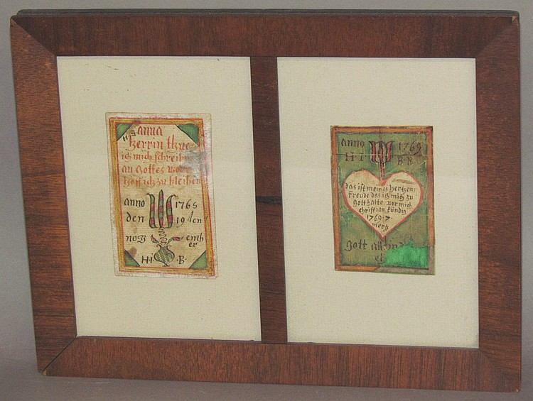 2 Fraktur drawings by Hans Jacob Brubacher