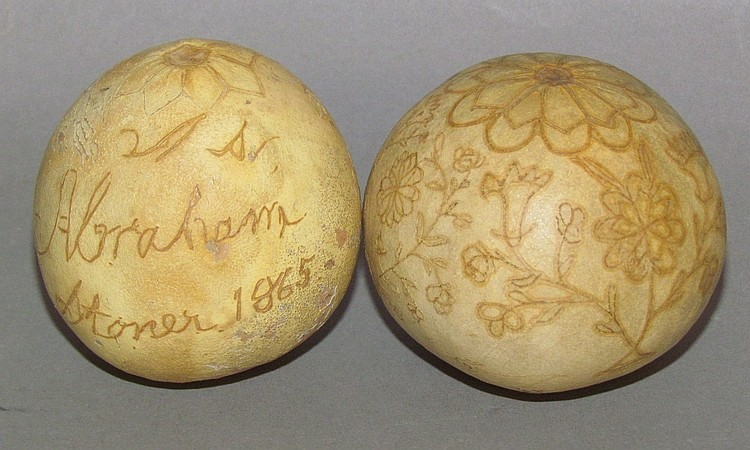 Scratch decorated gourd dated 1865 Abraham Stoner