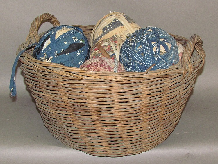 Handled basket & fabric balls