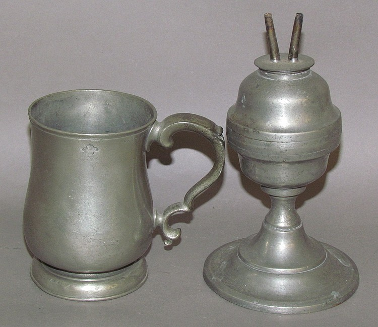 Pewter mug & whale oil lamp