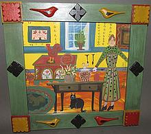 Barbara Strawser framed folk art watercolor