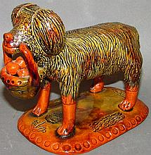 Lester Breininger redware dog with basket