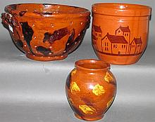 3 pieces of Lester Breininger redware