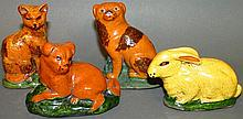 4 Mary Shooner redware animals