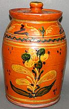 Greg Shooner redware jar with lid
