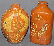 2 Greg Shooner slip decorated redware bottles
