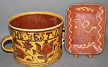 2 pieces of reproduction redware