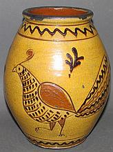Greg Shooner sgraffito bird decorated redware jar