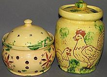 2 Lester Breininger sgraffito decorated lidded pots