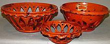 3 Lester Breininger redware nesting bowls