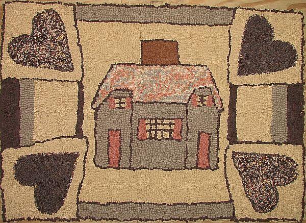 2 modern folk art hooked rugs
