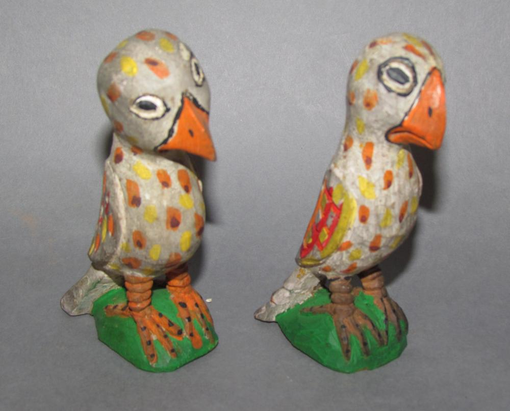 """2 small carved & polychrome painted """"Eaglets"""" by Carl Snavely (Lititz, PA)"""