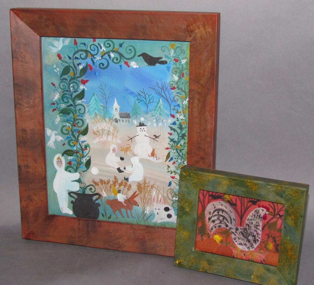 2 framed watercolor folk art paintings by Barbara Strawser