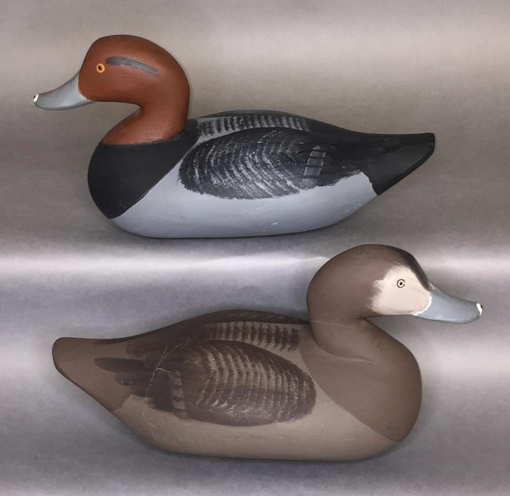"""Fine pair of """"Red Head"""" ducks by Paul Gibson, Havre de Grace, MD"""