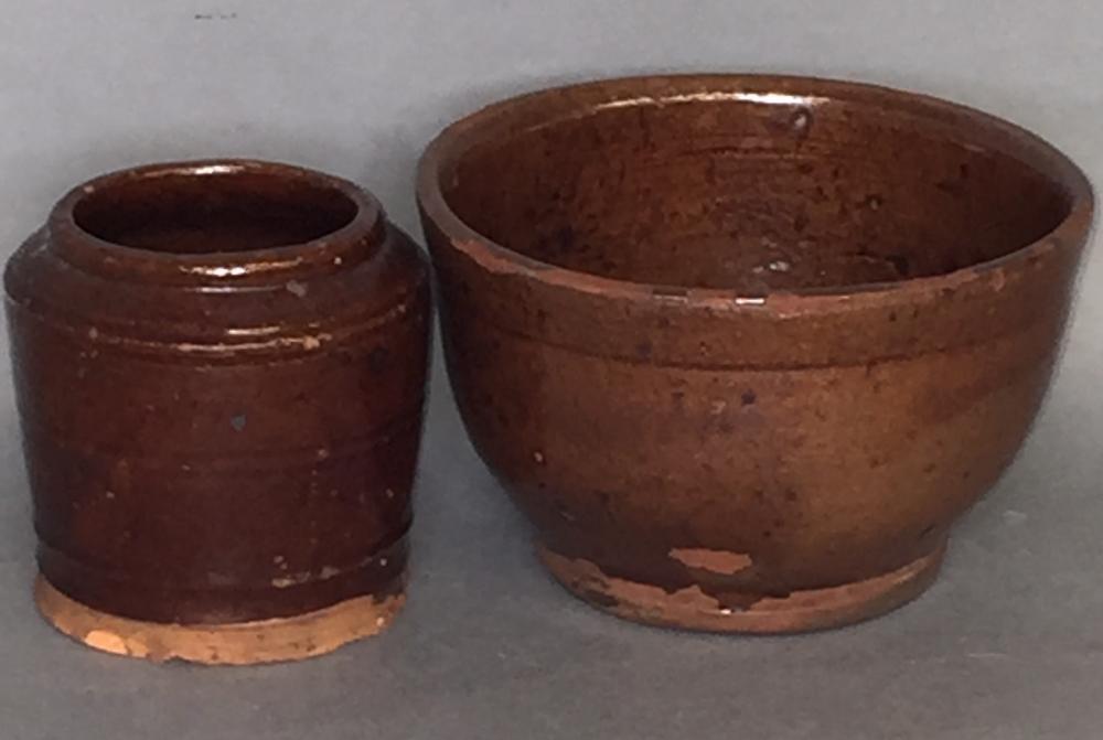 2 PA redware vessels