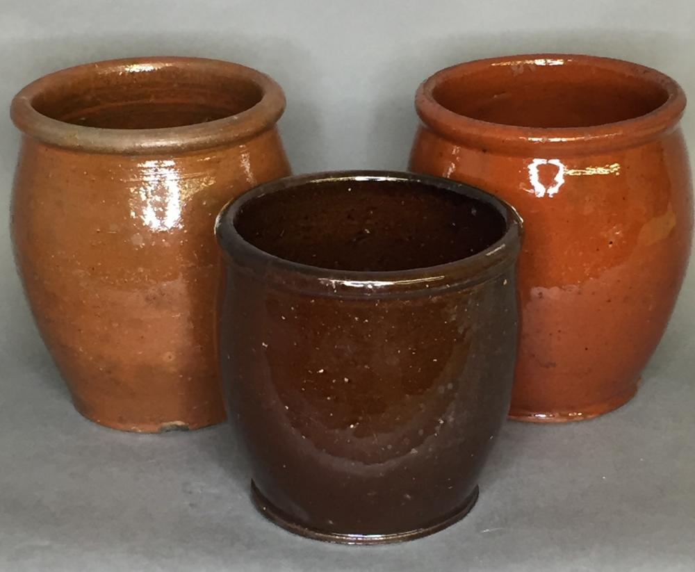 3 redware jelly jars