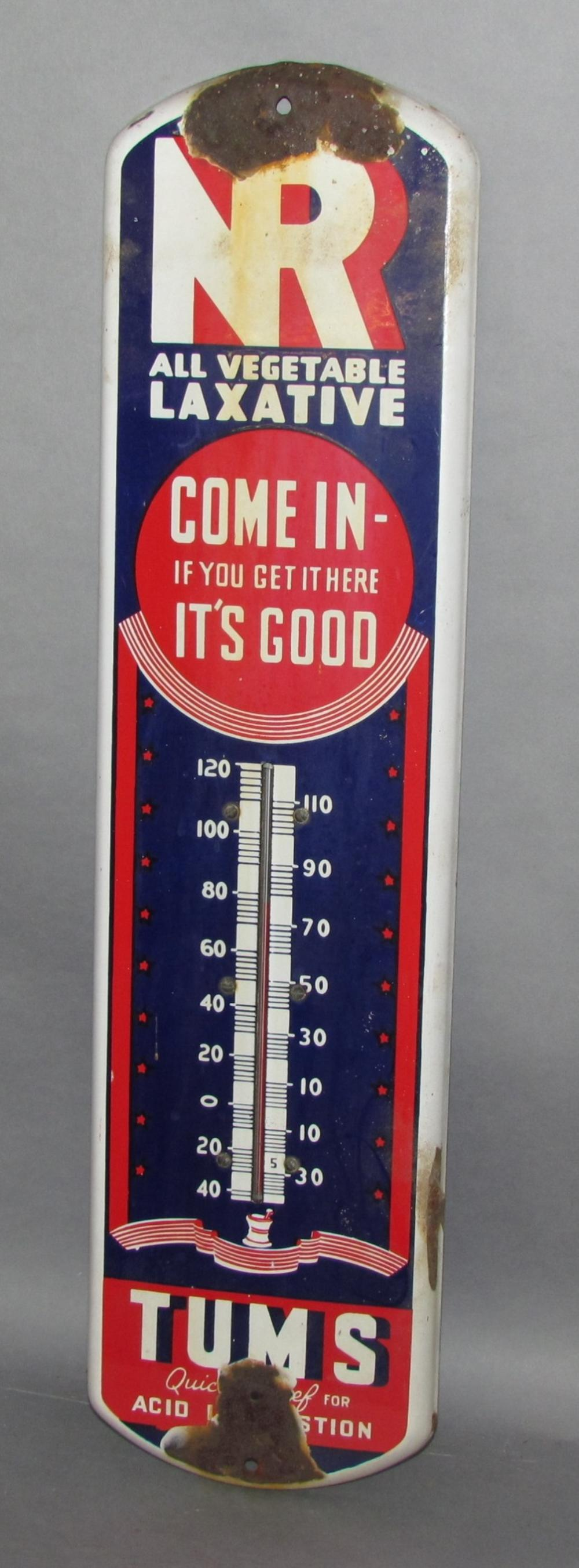 Tums & NR Laxative porcelain thermometer