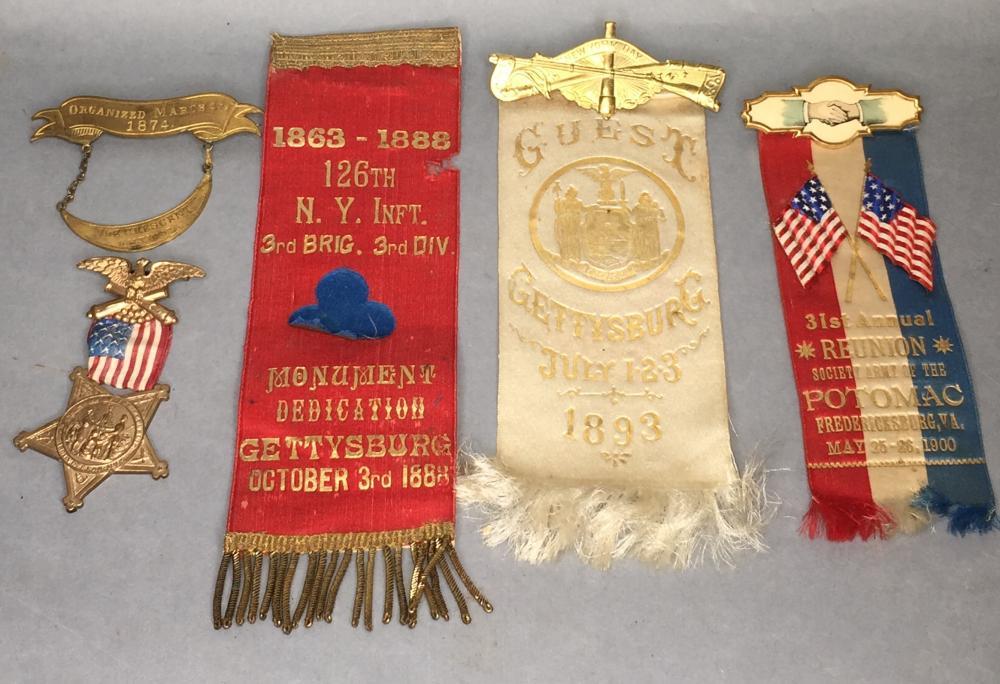 5 assorted Civil War reunion ribbons/badges