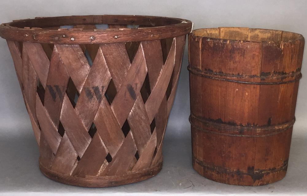 Orchard basket & wooden dry measure