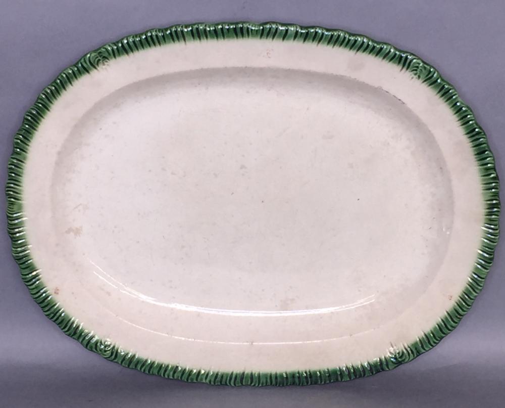Oval green shell edge platter