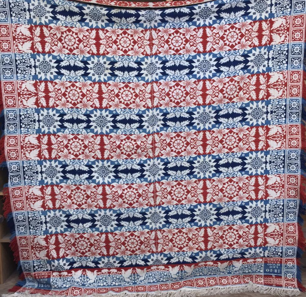 Jacquard woven center seam coverlet by Andrew Kump, Hanover, PA